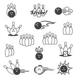 Bowling signs icons Royalty Free Stock Image