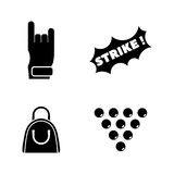 Bowling. Simple Related Vector Icons Royalty Free Stock Photos