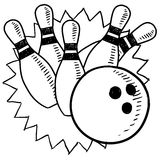 Bowling sketch Royalty Free Stock Photos