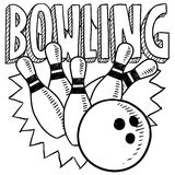 Bowling sketch. Doodle style bowling sports illustration in vector format. Includes title text, bowling ball, and pins Royalty Free Stock Photography