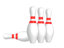 Bowling skittles. 3D render of bowling skittles on a white background Royalty Free Stock Photos
