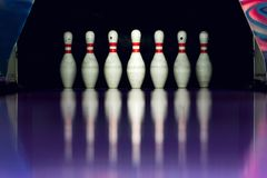 Bowling. Skittles in the alley. Royalty Free Stock Image