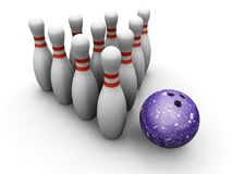 Bowling skittles and ball Stock Images
