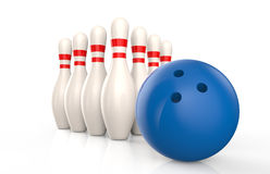 Bowling skittles and blue ball isolated Stock Photo