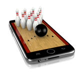 Bowling on Smartphone, Sports App Royalty Free Stock Image