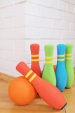 Bowling soft colorful pins Stock Photos