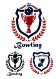 Bowling sport emblems and icons. With trophy, laurel wreath and crown for sporting design Royalty Free Stock Photos