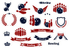 Bowling sport items and design elements. Bowling sport game items for sporting club or tournament emblems design with ninepins, balls, lane and trophy cup Royalty Free Stock Photos