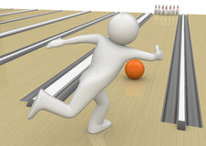 Bowling - Sports. 3d characters isolated on white background series Royalty Free Stock Photography