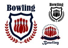Bowling sports game graphic emblem. Bowling sports game blue and red graphic emblem with ninepins, wreath and shield elements Royalty Free Stock Photos