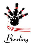 Bowling sports symbol. With flying ball and pins, text below Stock Photo