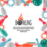 Bowling square border isolated on white for your design. Stock Images