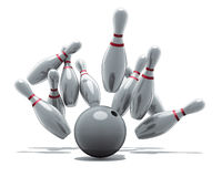 Bowling strike. 3D rendering, bowling, ninepins and ball Stock Photo