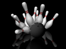 Bowling Strike. 3D render illustration of a bowling strike  with reflection on black background Stock Photos
