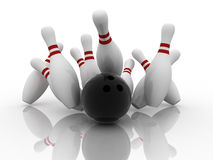 Bowling strike. Bowling ball strike shot into the pins Royalty Free Stock Photos