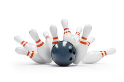 Bowling strike. On a white background Royalty Free Stock Photos