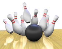 Bowling Strike. This is a 3d render of a bowling ball crashing into the pins Stock Photos