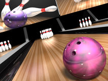 Bowling for a strike. A purple bowling ball hurls down a bowling lane towards 10  white and red pins in a 3d bowling ally scene Royalty Free Stock Images