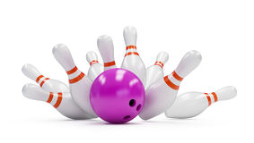 Bowling strike. On a white background Stock Photos