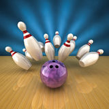 Bowling strike. Render of a bowling ball making a strike Royalty Free Stock Image