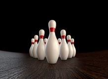Bowling strike. Ultra-high resolution 1st (zero) frame of  3D animation of ten-pin bowling strike Stock Photo