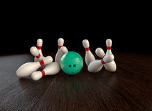 Bowling strike. Ultra-high resolution 54th frame of  3D animation of ten-pin bowling strike Stock Photos