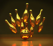 Bowling strike. 3d render of Gold Bowling strike Stock Photos