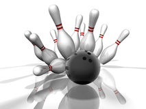 Bowling Strike. 3D render of a bowling strike with shadows and reflection. Concept: Success Stock Image