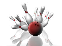 Bowling Strike. 3D render of a bowling strike with shadows and reflection Stock Photo