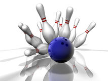 Bowling Strike. 3D render of a bowling strike with shadows and reflection Royalty Free Stock Images