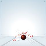 Bowling Strike. Ball Crashing into the Skittles Royalty Free Stock Image