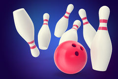 Bowling strike with ball and pins on blue background. 3d illustration royalty free illustration