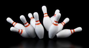 Bowling strike on black background. 3d Illustrations Royalty Free Stock Photo