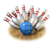 Bowling strike bowl pins game sport pass time Royalty Free Stock Photography
