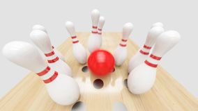 Bowling Strike. Clipping path included. stock images