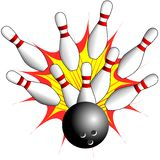 isolated Bowling - Strike illustration Royalty Free Stock Photography