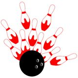 Bowling Strike illustration in red and white isolated Royalty Free Stock Photos