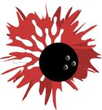 Bowling Strike illustration on spot of color isolated Royalty Free Stock Photography