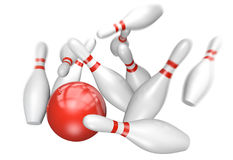 Bowling strike concept of a red ball knocking down ten pins, 3D rendering. 3D render of a red bowling ball smashing through ten pins in a perfect strike Stock Photo