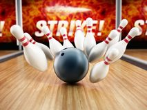 Bowling strike concept with rolling ball and pins. 3D illustration.  Royalty Free Stock Photos