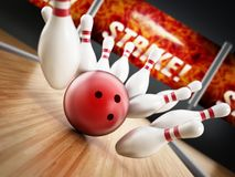 Bowling strike concept with rolling ball and pins. 3D illustration.  Stock Photography