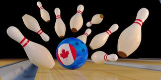 Free Bowling Strike Creative Concept With Canada Flag. Skittles And Bowling Ball On The Track Royalty Free Stock Photography - 209022057
