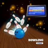 Bowling Strike 3D Illustration. Bowling strike 3d composition with hitting blue ball on pins and results on score board vector illustration Royalty Free Stock Image
