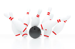 Bowling strike (3D render) Royalty Free Stock Image