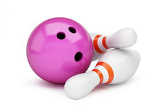 Bowling strike 3D rendering, 3D illustration. On a white background Royalty Free Stock Photo