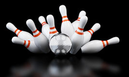Bowling strike disco ball Stock Photo