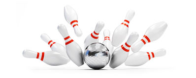 Bowling strike disco ball. On white background. 3d Illustrations Stock Photo