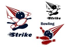 Bowling strike emblems with balls and ninepins Stock Images