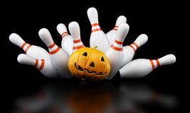Bowling strike halloween. 3D illustration Royalty Free Stock Photo