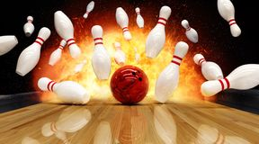 Bowling strike hit with fire explosion royalty free stock image